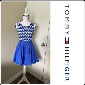 Tommy Hilfiger Blue Chevron Dress XS